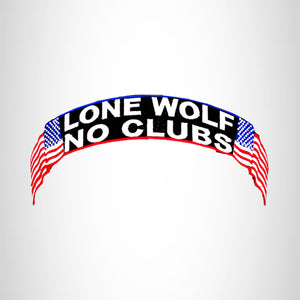 Lone Wolf No Club Red White Blue on Black Top Rocker Patch for Biker Vest Jacket TR333