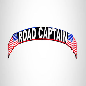 Road Captain Red white and blue on black Top Rocker Iron on Patch for Biker Vest TR335