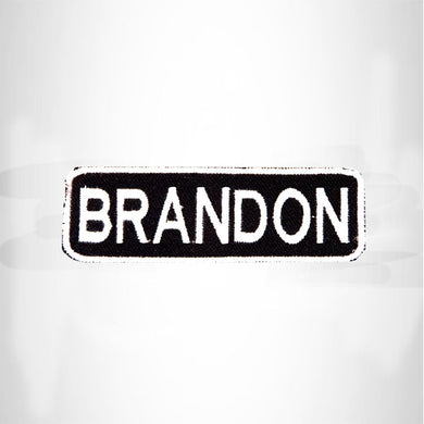 BRANDON White on Black Iron on Name Tag Patch for Biker Vest NB203