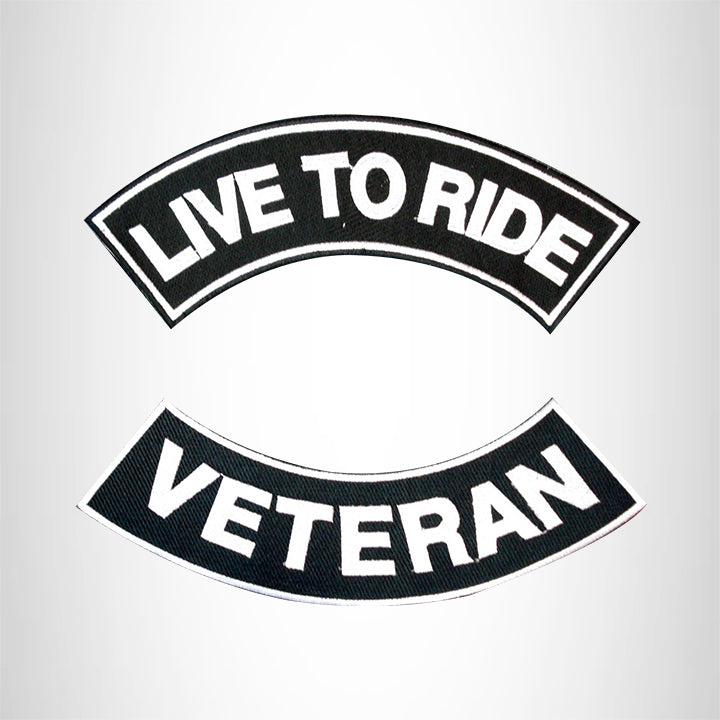 LIVE TO RIDE VETERAN Rocker 2 Patches Set Sew on for Vest Jacket