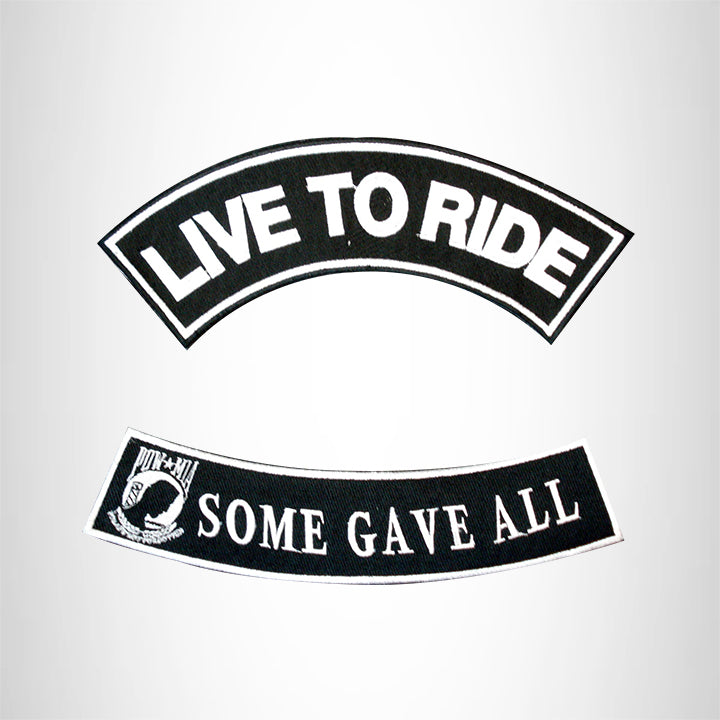 LIVE TO RIDE SOME GAVE ALL 2 Patches Set Sew on for Vest Jacket