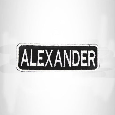 ALEXANDER White on Black Iron on Name Tag Patch for Biker Vest NB233