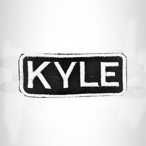 KYLE White on Black Iron on Name Tag Patch for Biker Vest NB235