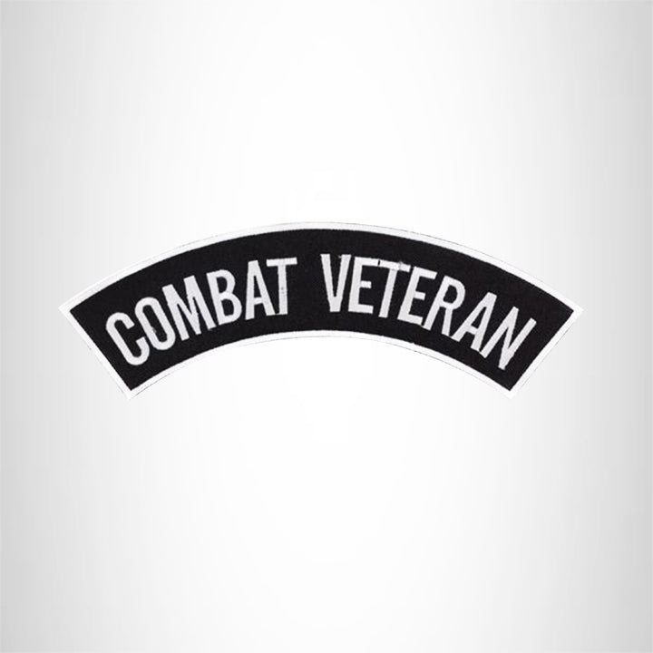 COMBAT VETERAN White on Black Top Rocker Patch for Biker Vest Jacket