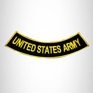 UNITED STATES ARMY Yellow on Black Bottom Rocker Patches for Vest jacket