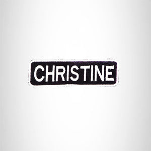 CHRISTINE Black and White Name Tag Iron on Patch for Biker Vest and Jacket NB285