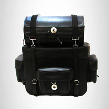 Load image into Gallery viewer, MOTORCYCLE Sissy Bar Bag Two-Piece Luggage Three External Pockets Black SBTB540