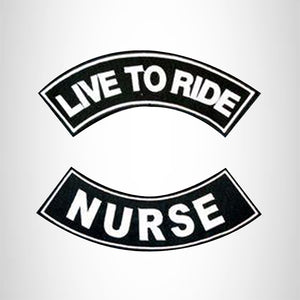 LIVE TO RIDE NURSE Rocker 2 Patches Set Sew on for Vest Jacket