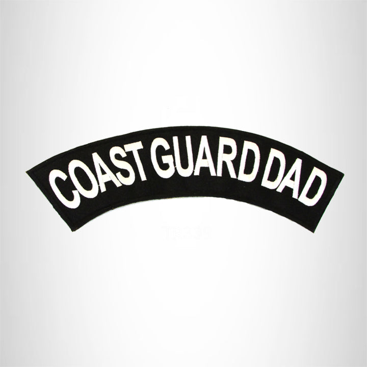 COAST GUARD DAD White on Black Top Rocker Iron on Patch for Biker Vest TR339
