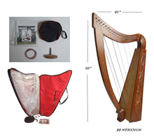 Load image into Gallery viewer, 22 Strings LEVER Harp Solid Wood Celtic Irish rose Harp Engraved wood