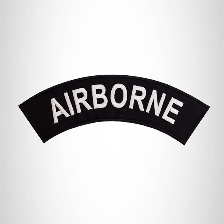 AIR BORNE White on Black Top Rocker Patch for Biker Vest Jacket TR340