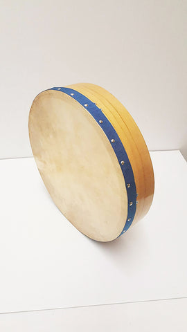 18inch  BUDHRAN IRISH DRUM WITH BAG Natural Wood with Blue Band DRM18SABL