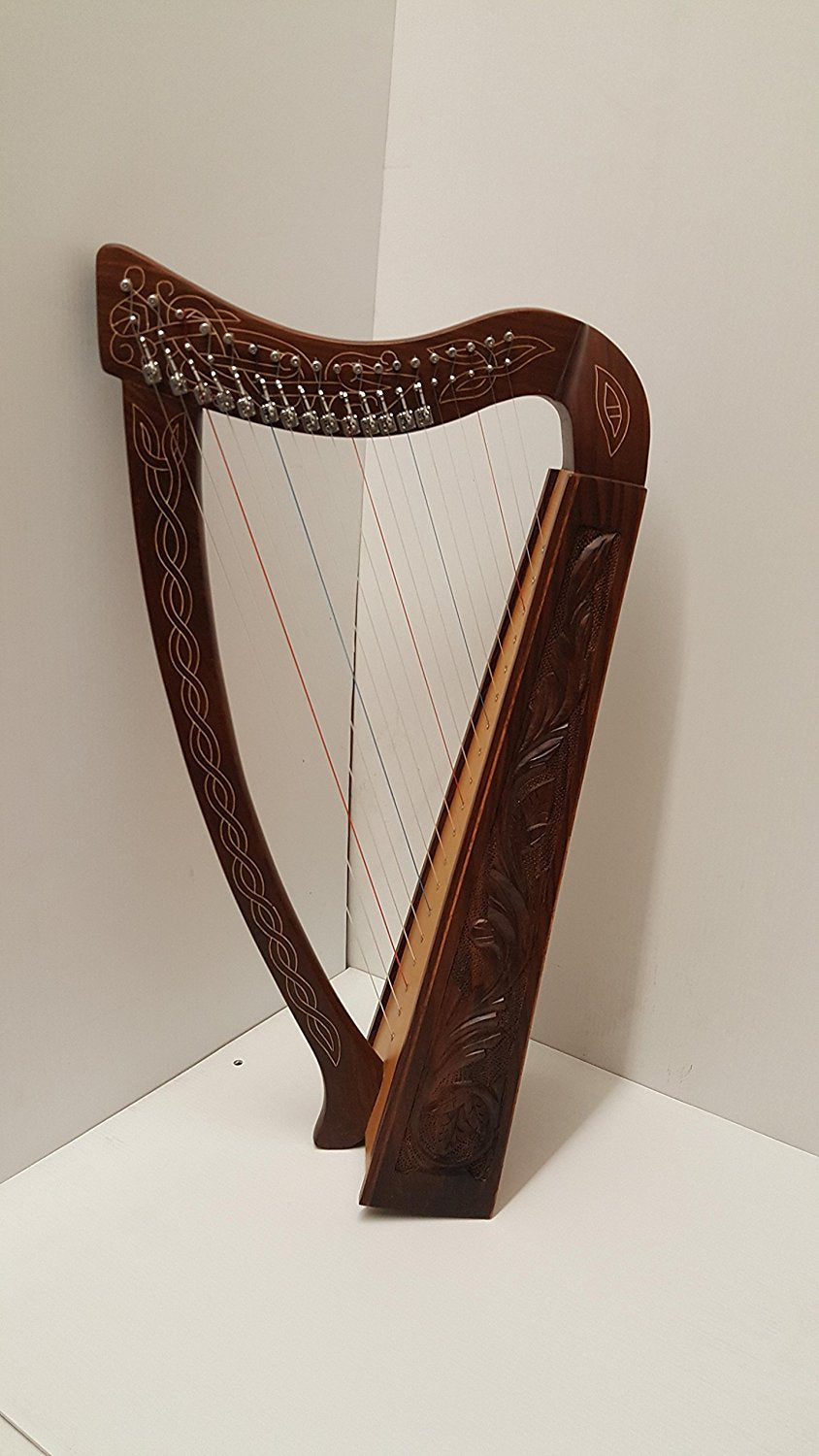Tall Celtic Irish Rose Harp 22 Strings Solid Wood with hand Engraved Styles-STURGIS MIDWEST INC.