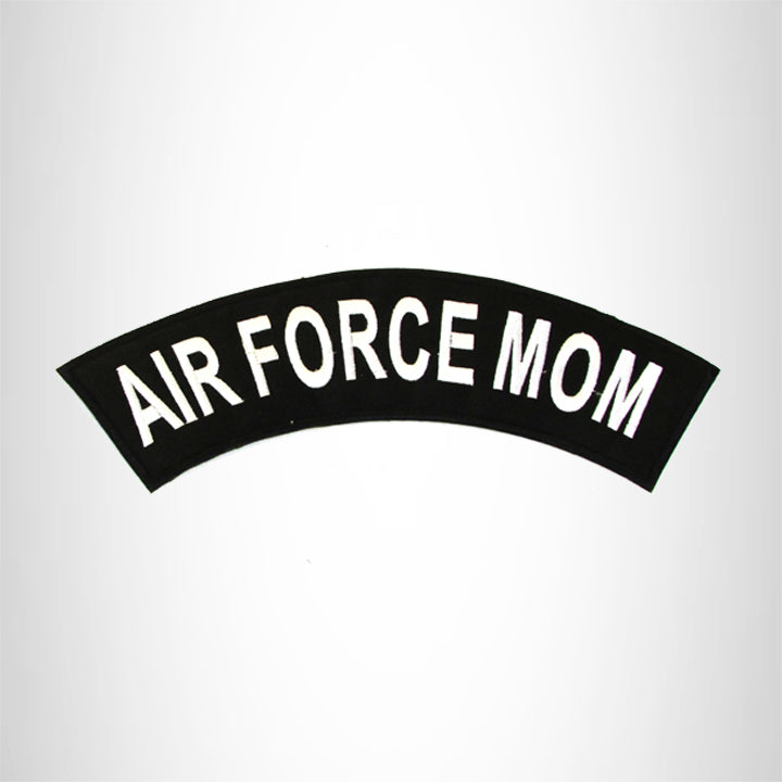 AIR FORCE MOM White on Black Top Rocker Patch for Biker Vest Jacket TR341