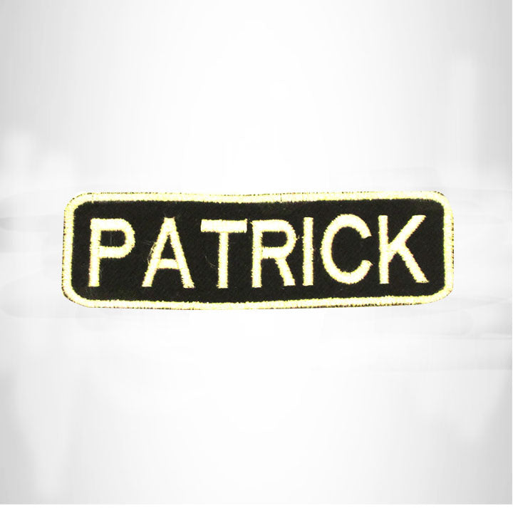 PATRICK White on Black Iron on Name Tag Patch for Biker Vest NB241