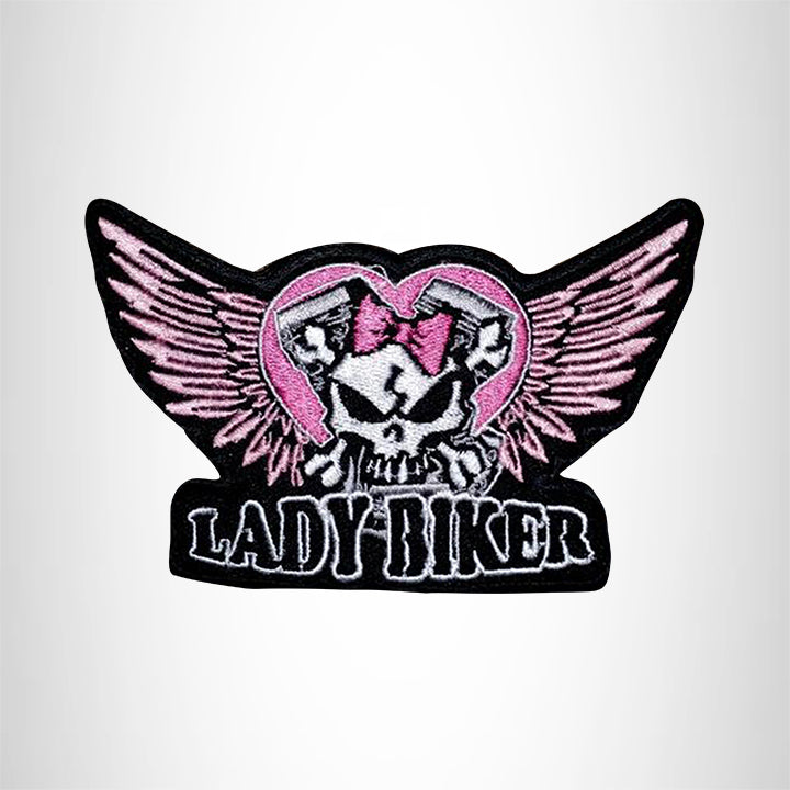 Lady Biker Winged Skull Small Patch Iron on for Vest Jacket SB537