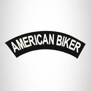 AMERICAN BIKER White on Black Top Rocker Patch for Biker Vest Jacket TR342