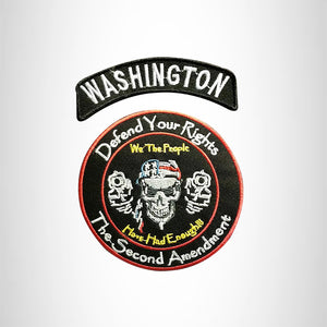 WASHINGTON Defend Your Rights the 2nd Amendment 2 Patches Set for Vest Jacket