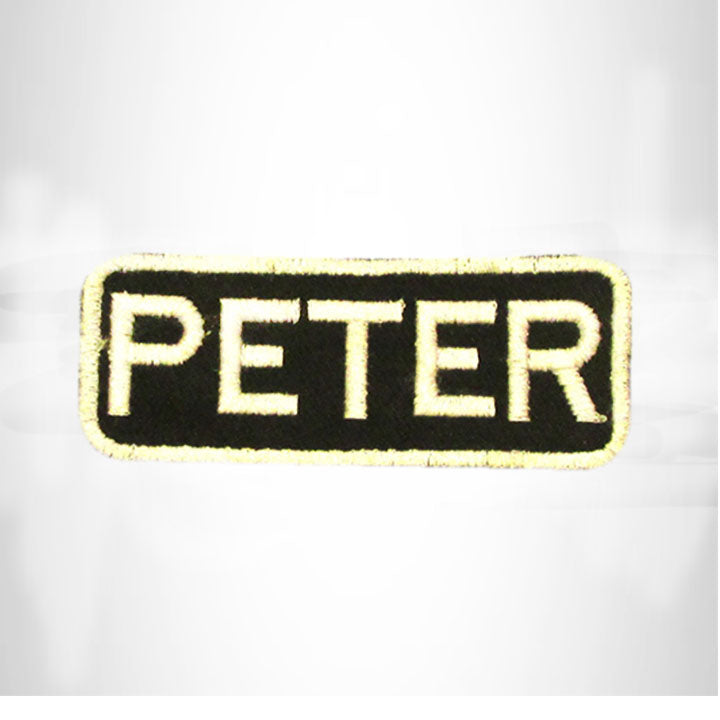 PETER White on Black Iron on Name Tag Patch for Biker Vest NB244