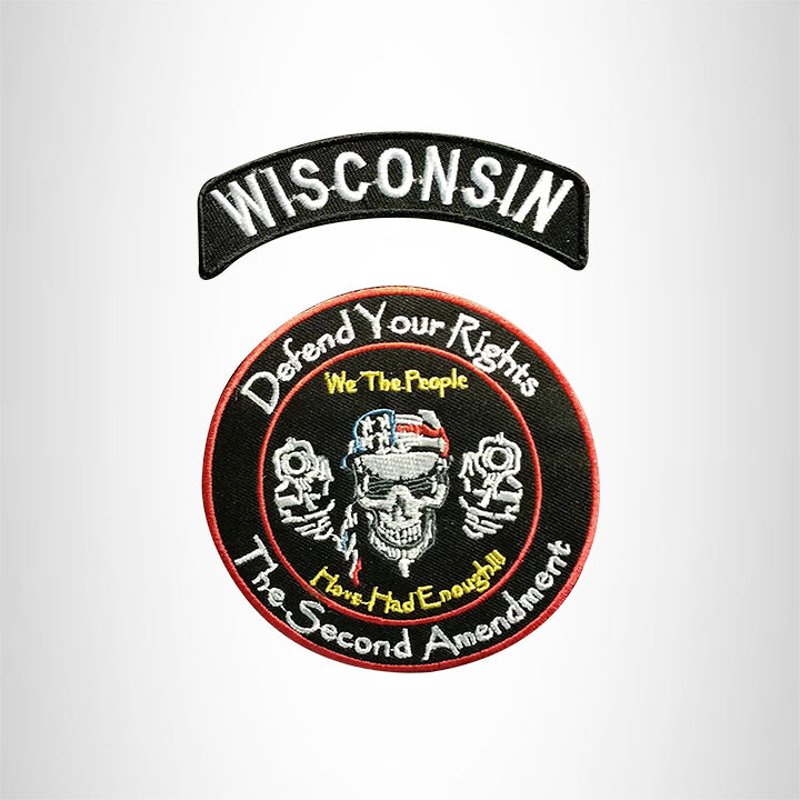 WISCONSIN Defend Your Rights the 2nd Amendment 2 Patches Set for Vest Jacket