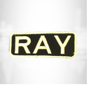 RAY White on Black Iron on Name Tag Patch for Biker Vest NB245