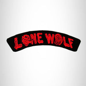 LONE WOLF Red on Black Top Rocker Iron on Patch for Biker Vest TR345