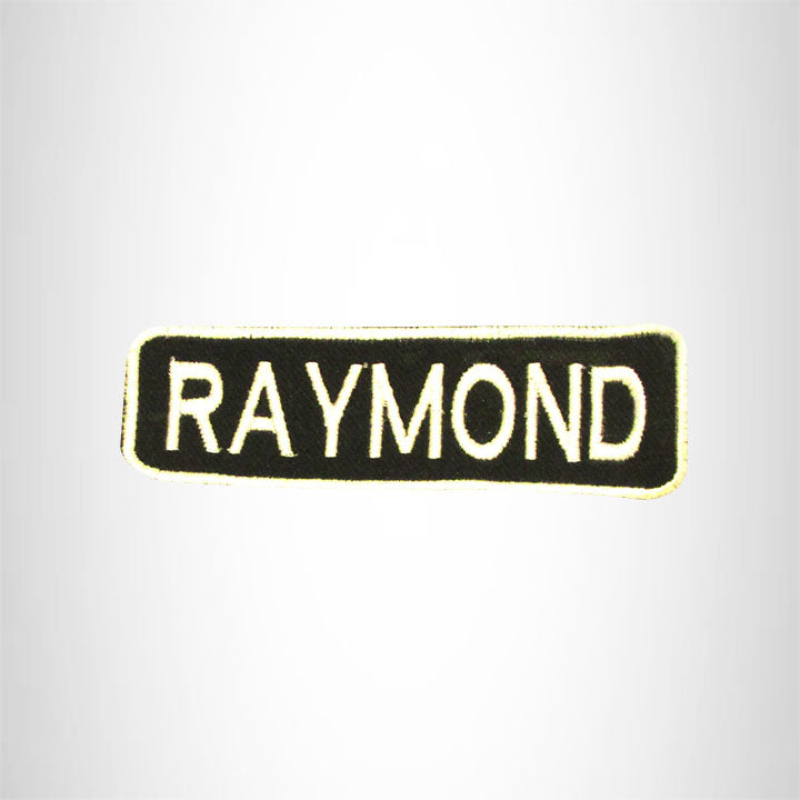 RAYMOND White on Black Iron on Name Tag Patch for Biker Vest NB246
