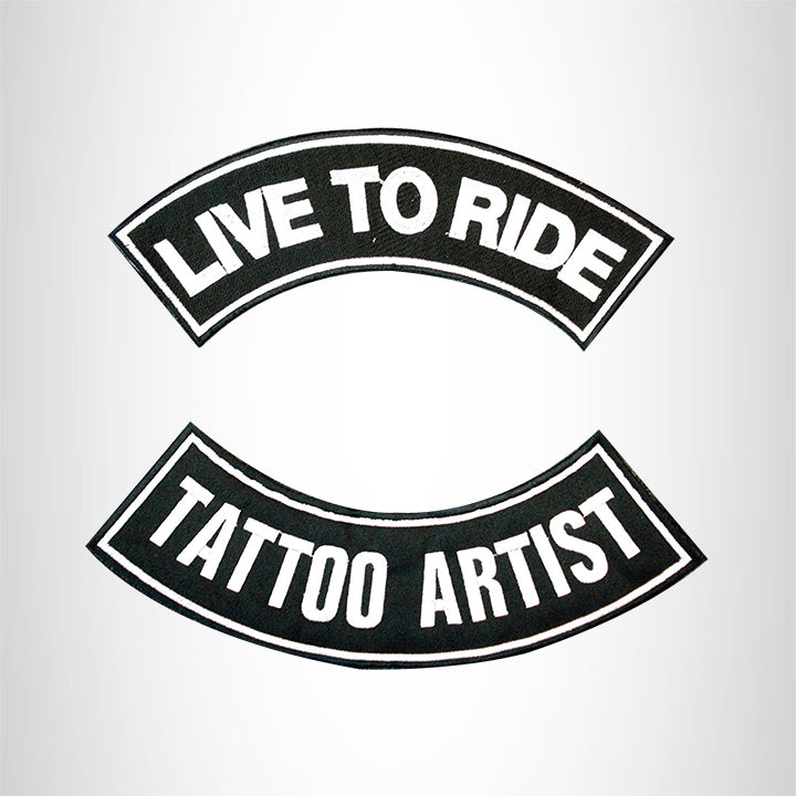 LIVE TO RIDE TATTOO ARTIST Rocker 2 Patches Set Sew on for Vest Jacket