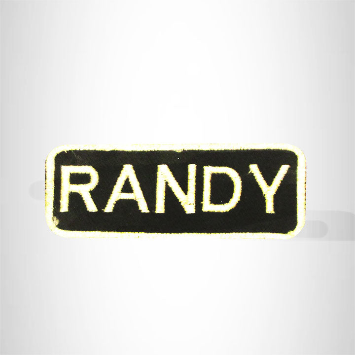 Randy White on Black Iron on Name Tag Patch for Biker Vest NB247