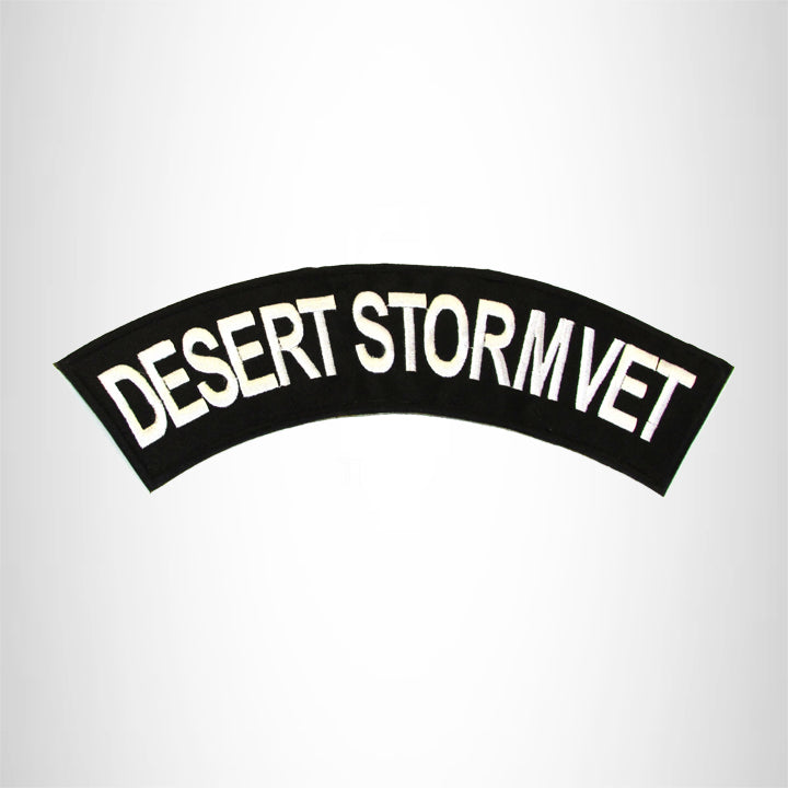 DESERT STORM VET White on Black Top Rocker Patch for Biker Vest Jacket TR348