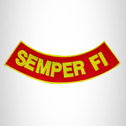 SEMPER FI  Yellow on Red with Boarder Bottom Rocker Patches for Vest jacket
