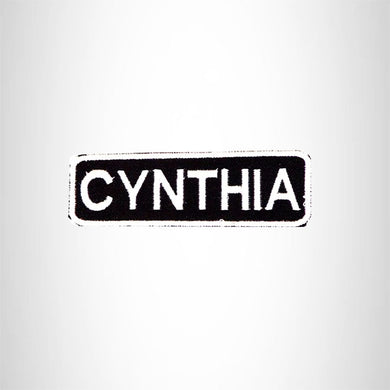 CYNTHIA Black and White Name Tag Iron on Patch for Biker Vest and Jacket NB286