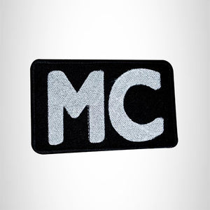 MC White on Black Small Patch for Vest Jacket SB549