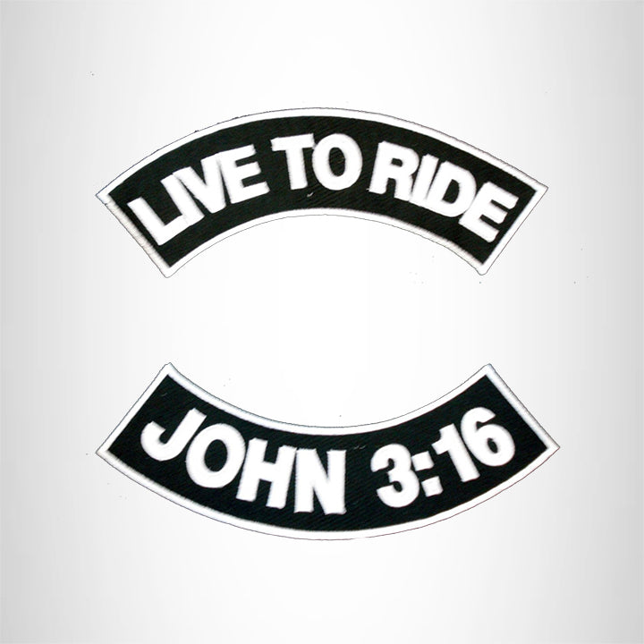 LIVE TO RIDE JHON 3:16 Rocker 2 Patches Set Sew on for Vest Jacket