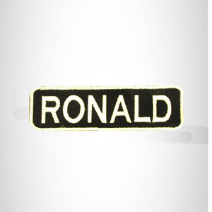 RONALD White on Black Iron on Name Tag Patch for Biker Vest NB250