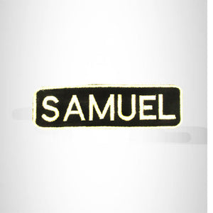 SAMUEL White on Black Iron on Name Tag Patch for Biker Vest NB253