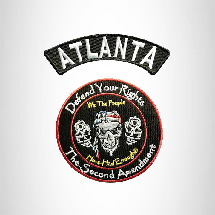 ATLANTA Defend Your Rights the 2nd Amendment 2 Patches Set for Vest Jacket