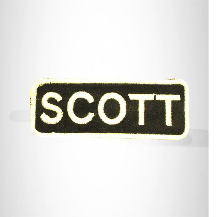 Scott White on Black Iron on Name Tag Patch for Biker Vest NB254