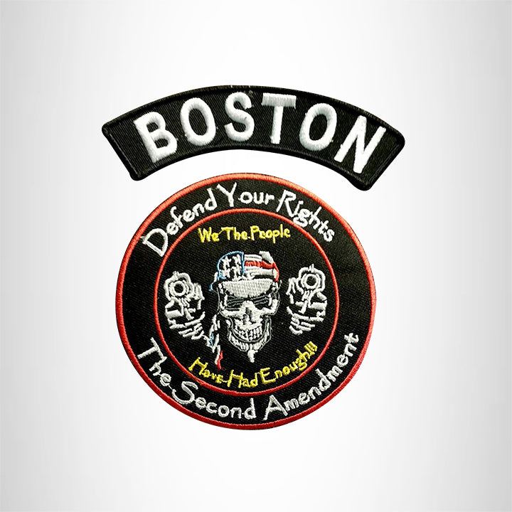 BOSTON Defend Your Rights the 2nd Amendment 2 Patches Set for Vest Jacket