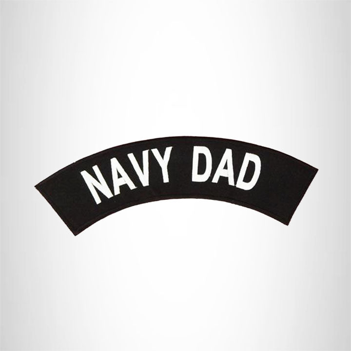 Navy Dad White on Black Top Rocker Patch for Biker Vest Jacket TR368