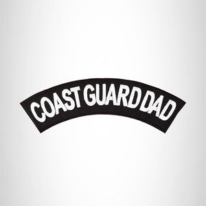 Coast Guard Dad White on Black Top Rocker Iron on Patch for Motorcycle Biker Vest TR369