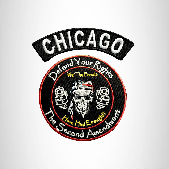 CHICAGO Defend Your Rights the 2nd Amendment 2 Patches Set for Vest Jacket