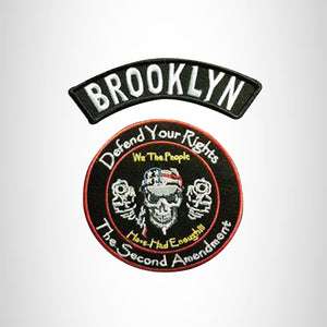 BROOKLYN Defend Your Rights the 2nd Amendment 2 Patches Set for Vest Jacket