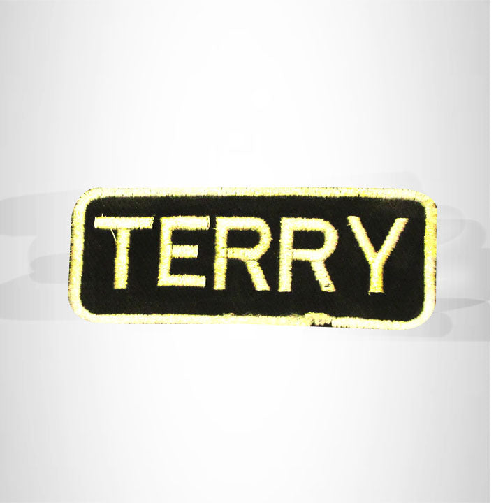 Terry White on Black Iron on Name Tag Patch for Biker Vest NB258