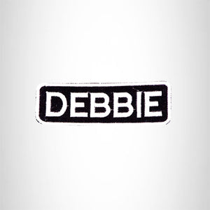 DEBBIE Black and White Name Tag Iron on Patch for Biker Vest and Jacket NB287