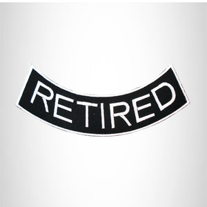 RETIRED White on Black with Boarder Bottom Rocker Patch for Vest Jacket