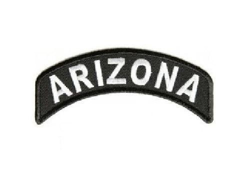 Arizona State Patch Rocker White On Black Arm Shoulder Patch Front of Jacket vest