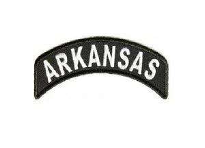 Arkansas State Patch Rocker White On Black Arm Shoulder Patch Front of Jacket vest-STURGIS MIDWEST INC.