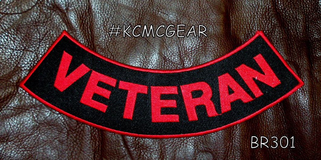 VETERAN Red on Black with Boarder patches for Vest jacket-STURGIS MIDWEST INC.