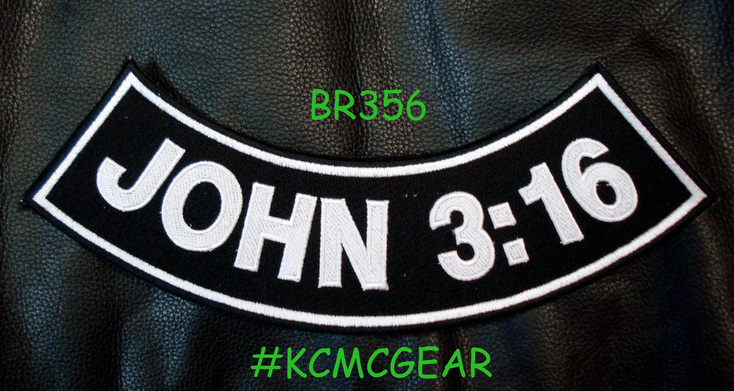 JOHN 3:16 Patch Rocker For Christian Patches Vest jacket Bottom Side Rocker Black patch-STURGIS MIDWEST INC.